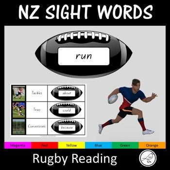 A fun activity for practising sight words from magenta to orange.  This activity will engage many of your students (particularly your boys).The Activity: Place the rugby balls face down (in a pile or scattered).  Each student has a Rugby Score Sheet in front of them.