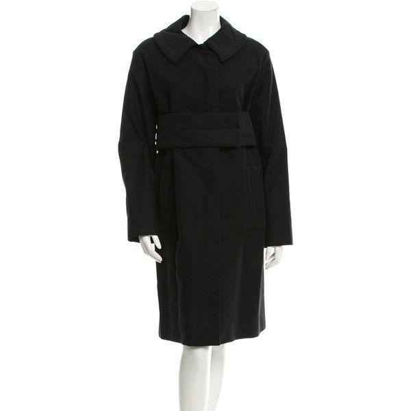 Pre-owned Louis Vuitton Belted Knee-Length Coat ($565) ❤ liked on Polyvore featuring outerwear, coats, black, louis vuitton coat, coat with belt, belted coat, knee length coat and louis vuitton
