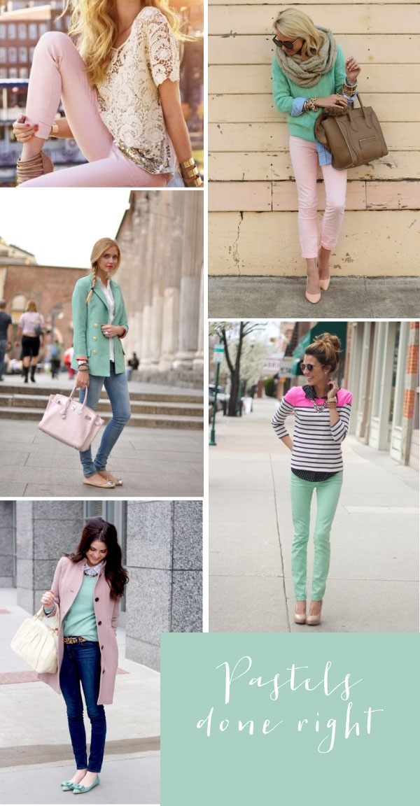 Pretty pastel-colored clothes.