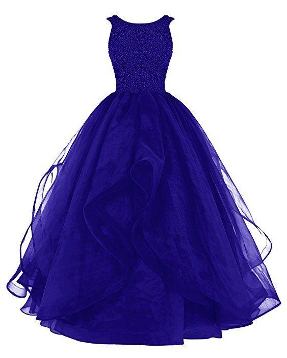 Dresstells Long Prom Dress Asymmetric Bridesmaid Dress Beaded Organza Gown Black Size 2