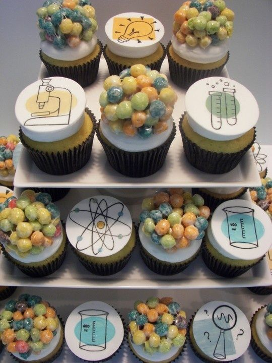 Chemistry molecule Cupcakes for science of small business NoMoNausea.com