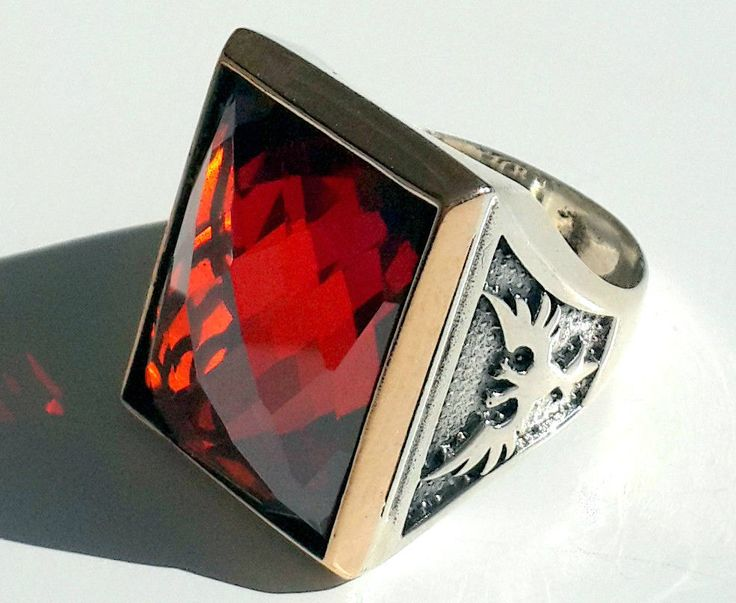 925 STERLING SILVER MEN'S RING WITH GENUINE RUBY AND DOUBLE HEADED EAGLE #Handmade