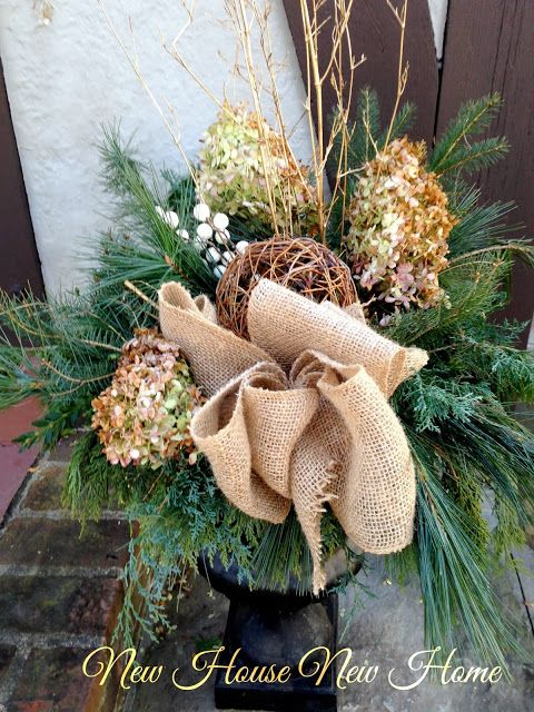 Nature Inspired Christmas Urns - New House New Home