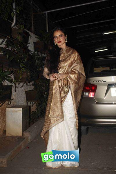 Rekha at the Screening of Hindi movie 'Bajirao Mastani' at Sunny Super Sound in Mumbai