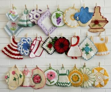 This is a photo of several of the vintage potholders from crochet patterns that are available at http://www.MaggiesCrochet.com.