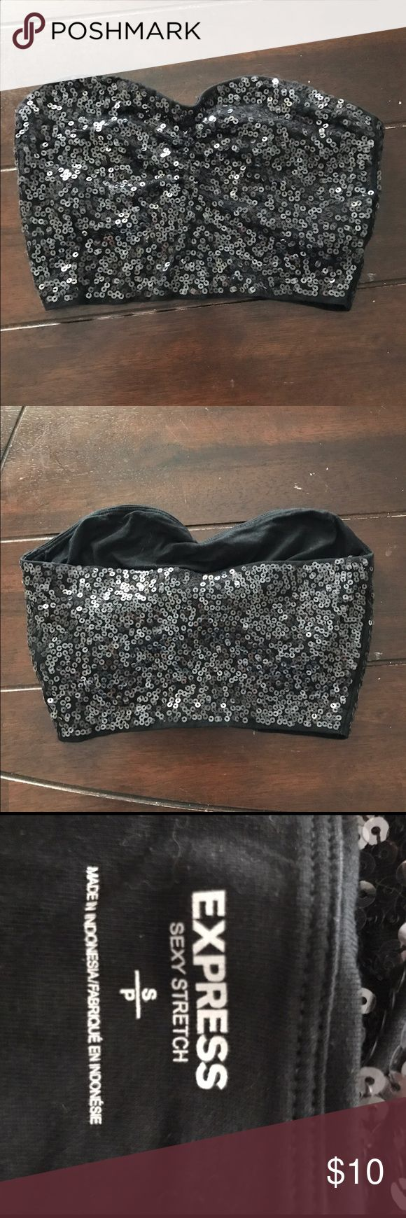 Express Sexy Stretch Sequin Bandeau Top size Small Very cute sequined bandeau top with built in bra. Perfect for any special occasion or going out. Only worn for one New Year's Eve. $10 OBO, price NGO, make me an offer! Express Tops