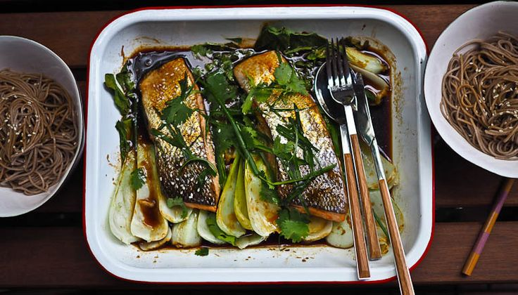Easy Tray Bake Salmon And Greens