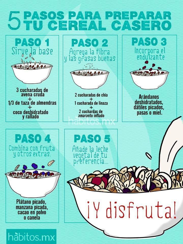 ¡5 pasos para preparar tu cereal casero!