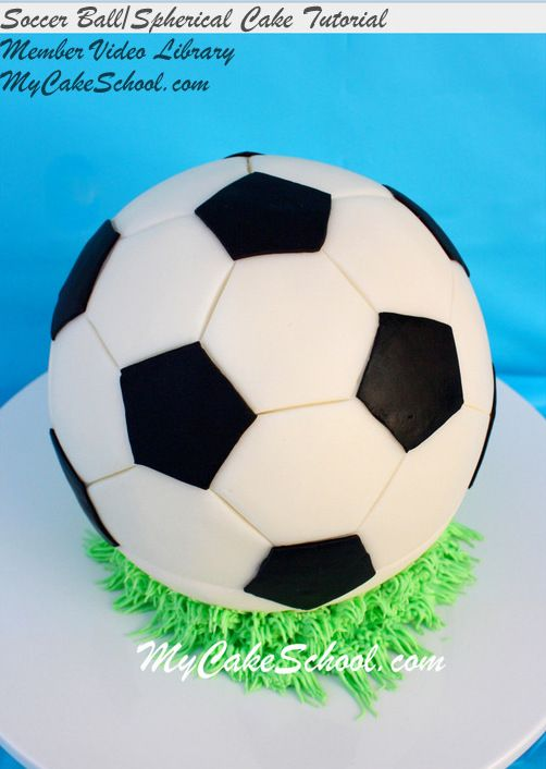 In this My Cake School video tutorial, learn to make a round, spherical cake and soccer ball design. MyCakeSchool.com Online Cake Classes.