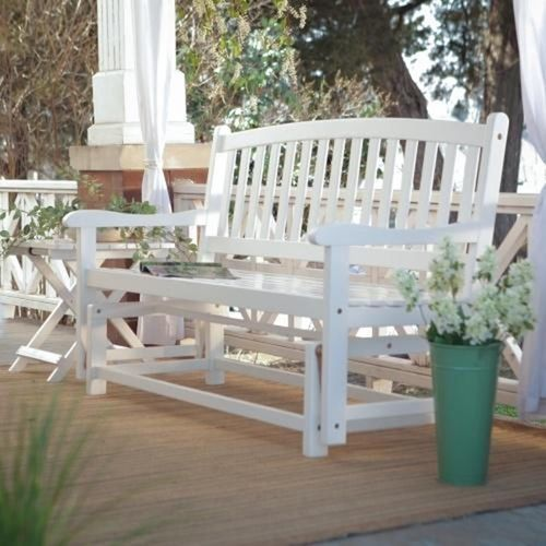 On Sale Now at Cuda's Corner Store! 4-Ft Outdoor Patio Garden Glider Bench Loveseat in White Wood