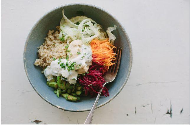 Quinoa Bowl With Quick-Pickled Vegetables + Hummus