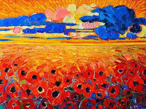 Abstract Field Of Poppies Under Cloudy Sunset  by Ana Maria Edulescu
