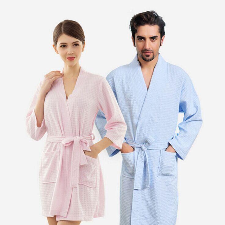 Amantes Kimono Ropa de Dormir Albornoz Waffle Bata Femme Sexy Mujeres Bata Hombres Navy Dama de Honor Larga Delgada Bata Batas