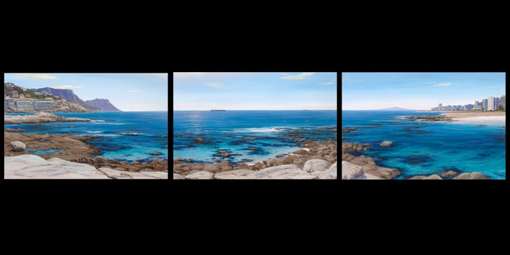 Triptych painting of Sea Point Cape Town