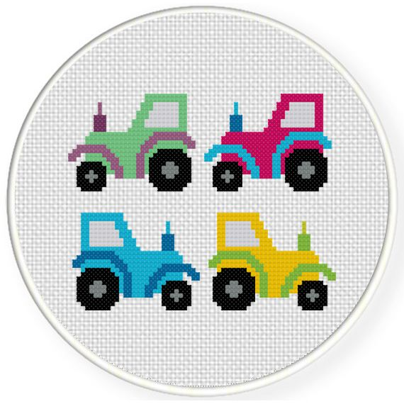 FREE for Jan 31st 2017 Only - Small Tractors Cross Stitch Pattern
