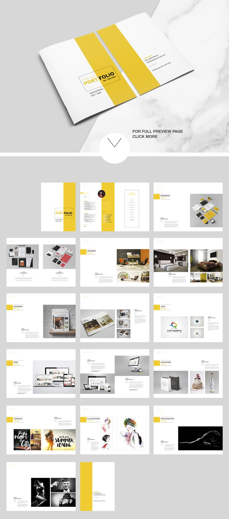Indesign portfolio brochure vol 2 by tujuhbenua on creativemarket magazine templates for How to make interior designer portfolio