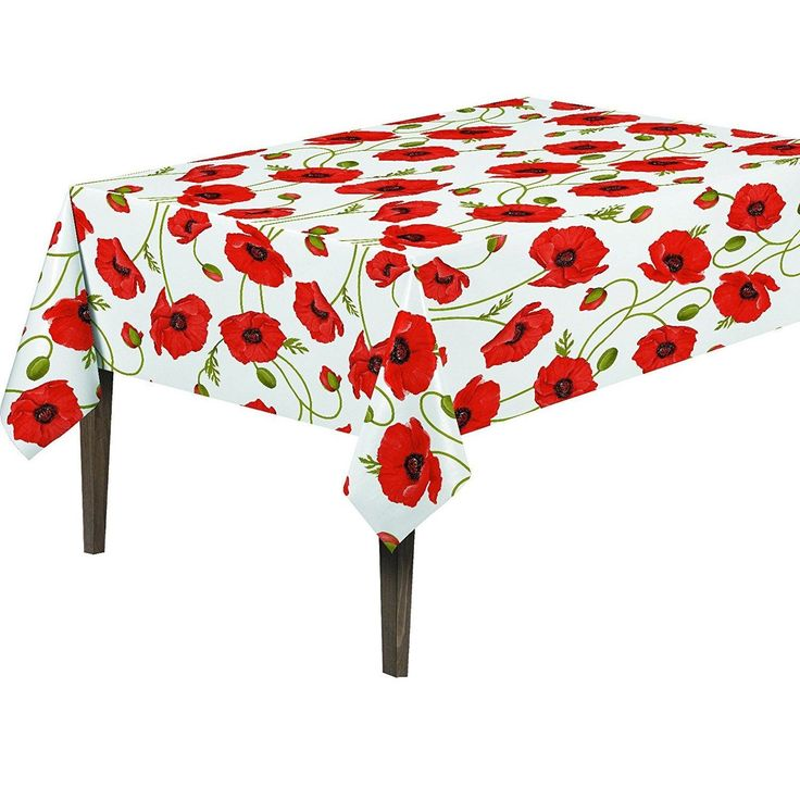 """Ottomanson Poppy Flower Vinyl 55-inch x 70-inch Non-woven Backing Indoor/Outdoor Tablecloth (Size: 55"""" X 70""""), Red (Synthetic Fiber, Floral)"""
