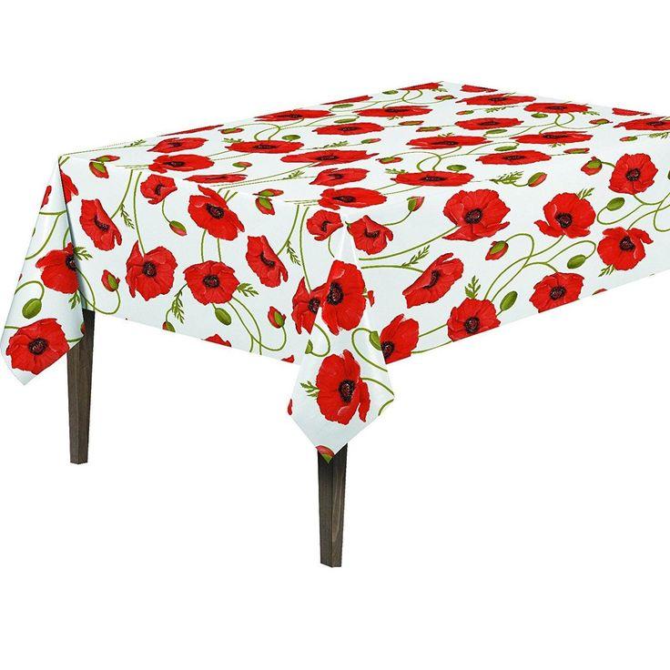 Ottomanson Vinyl Poppy Flower Design Indoor & Outdoor Tablecloth Non-Woven Backing 55 X 70