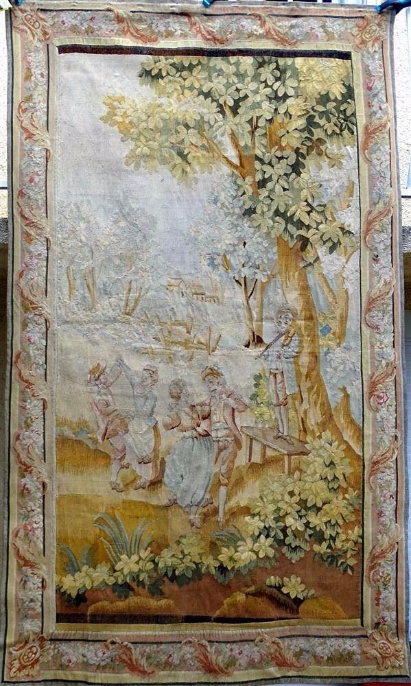 Large Antique French AUBUSSON 18th-c Tapestry Romantic Decor CHATEAU BORDEAUX