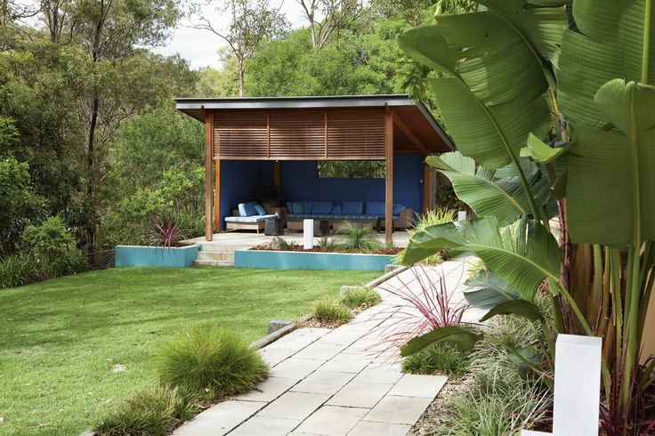 Outdoor Pavillion designed to be used like an outdoor living and entertaining room by Nick Moore Designs