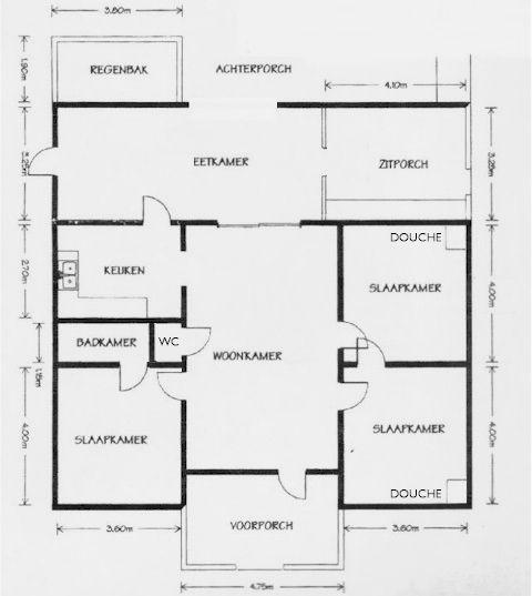 Plattegrond = tekening die de indeling van een ruimte laat zien bijvoorbeeld een woonhuis