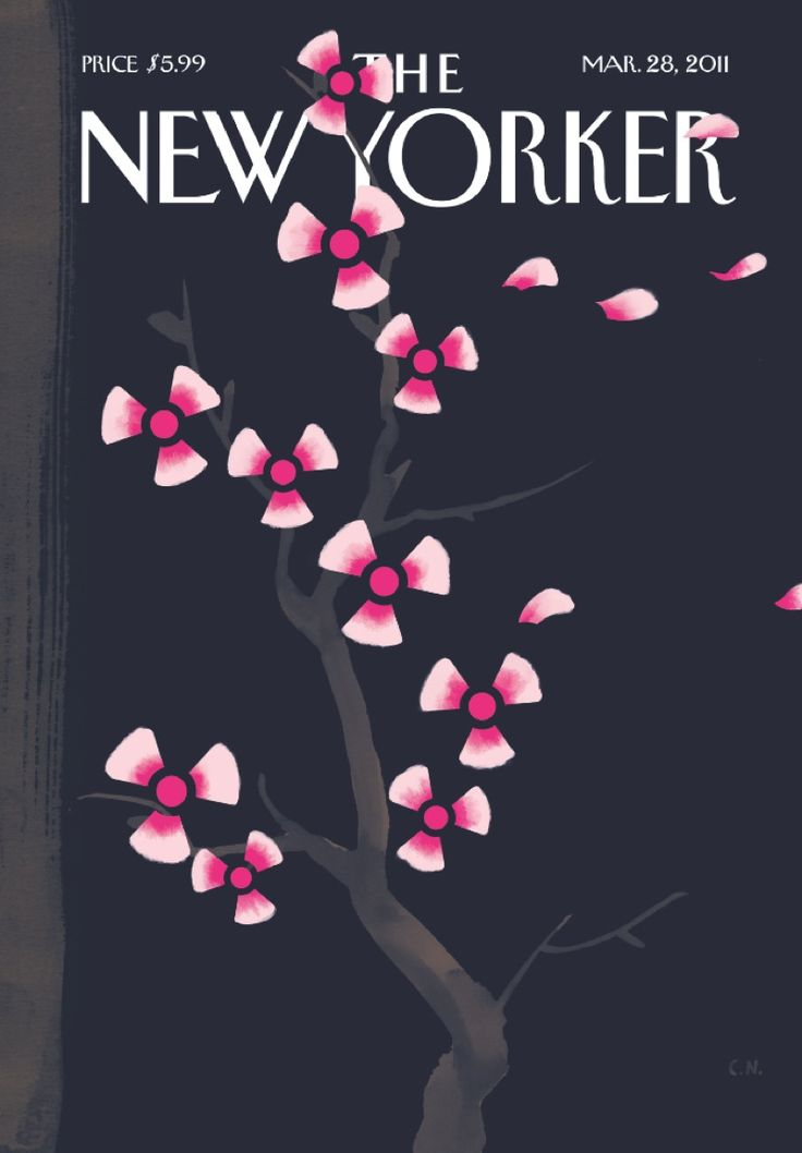 The Fukushima cover of The New Yorker, May 28 2011, features cherry blossomed illustrated by Christoph Niemann