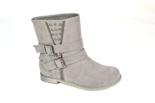"""Waooh - Schuh - Boots mit Nieten et lanières """"Amania"""" - Grau - Größe 40 - http://on-line-kaufen.de/waooh/40-eu-waooh-schuh-boots-mit-nieten-et-lani-res"""