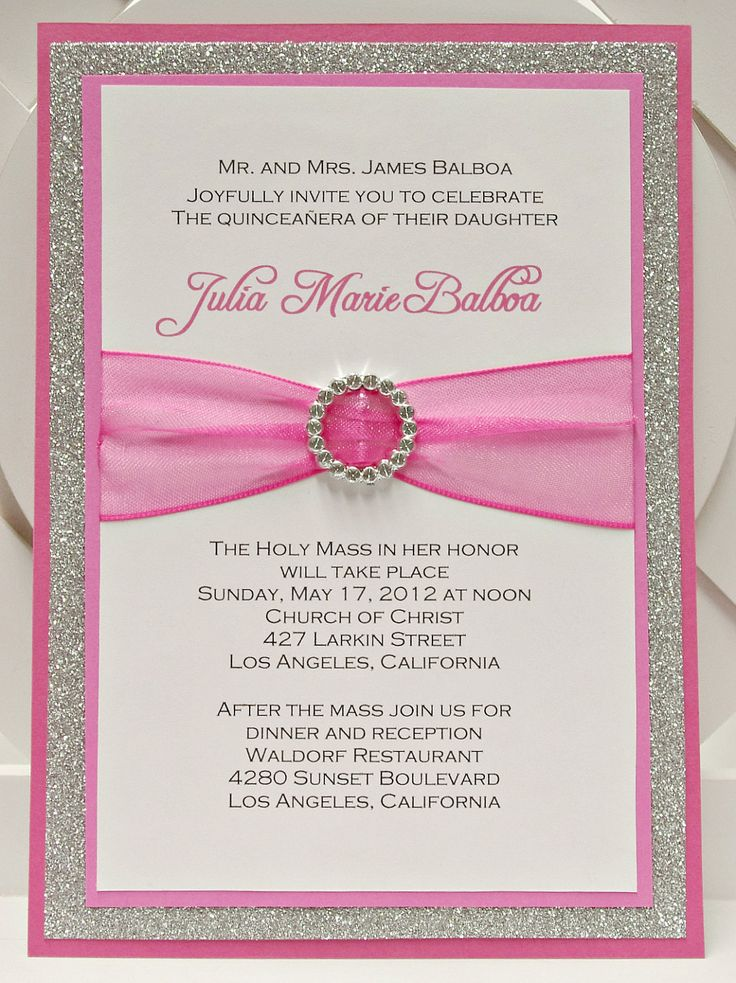 wedding party invitation message%0A Custom Handmade Pink  u     Silver Glitter Sweet Sixteen      Quinceanera  Invitations with Pocket