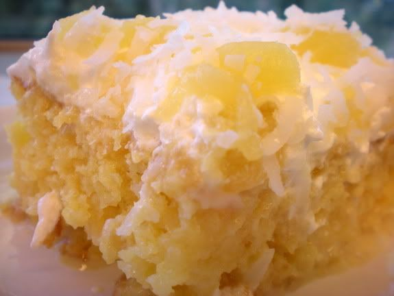 IslandCake: box yel cake mix;1 lge can cr pineapple w/juice;1 c sug;2 sm pkgs inst van pud mix;1 pkg coconut;1 lg cont cool whip Bake cake as dir in gr/fl 9x13 pan. Heat pineapple & sugar until sugar is disolved.Punch holes in cake with wood sp handle wh hot & pour pineapple mix over cake.Refrig til cool. Mix pud as dir & spread over cooled cake.Sprnkl thin layer of coconut on top of pudding. Mix rest of coconut into cool whip and spread on top. Dec with coconut and pineapple. keep refrig