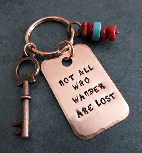 Metal Stamped Copper Key Ring Not All Who Wander by FHGoldDesigns