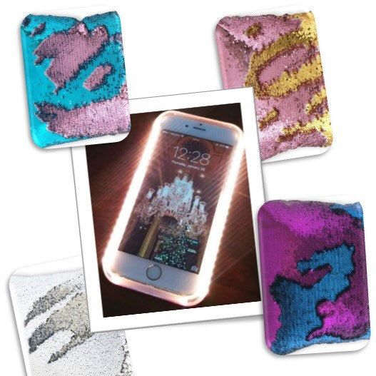 Simply brushing your hand across the back of  reversible sequin covers, you can change the look and design of the Mermaid Case. This incredibly versatile case also has an LED selfie light build in, professional studio quality lighting wherever you go.