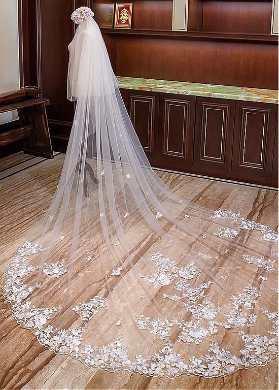 5ed594de27 Buy discount In Stock Gorgeous Tulle Cathedral Wedding Veil With Lace  Appliques at Dressilyme.com