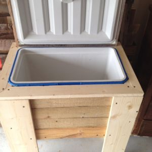 Check out this project on RYOBI Nation - Built this rustic cooler box with some old pallet wood that I had. Only things I had to buy were 4 pieces of 1x6 and some 1 1/4 deck screws. I made the cooler box about an inch bigger on each side so that I can put insulation board and filled the cracks with spray in foam to increase the RS value of the cooler for the famous Texas summers.