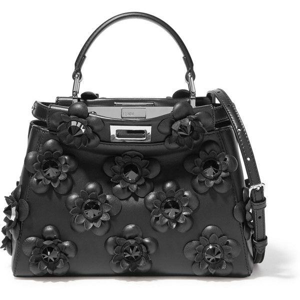 Fendi Peekaboo mini floral-appliquéd leather shoulder bag ($4,710) ❤ liked on Polyvore featuring bags, handbags, shoulder bags, bolsas, fendi, black, floral shoulder bag, mini purse, fendi purses and fendi handbags