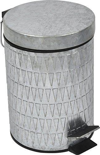 Evideco 6540102 Retro Galvanized Round Metal Bathroom Floor Step Trash Can Waste Bin 3