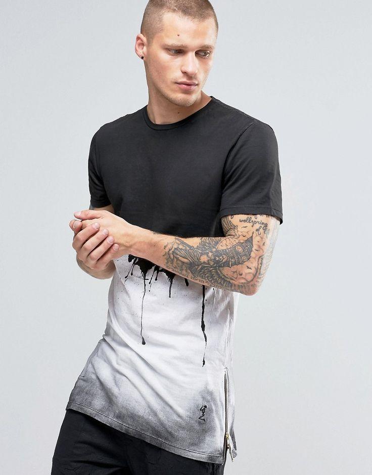 Image 1 - Religion - T-shirt à imprimé peinture dégoulinante avec fermetures éclair sur les côtés