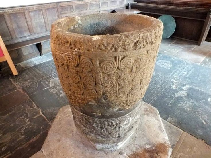 Priory church Deerhurst England, Saxon font.