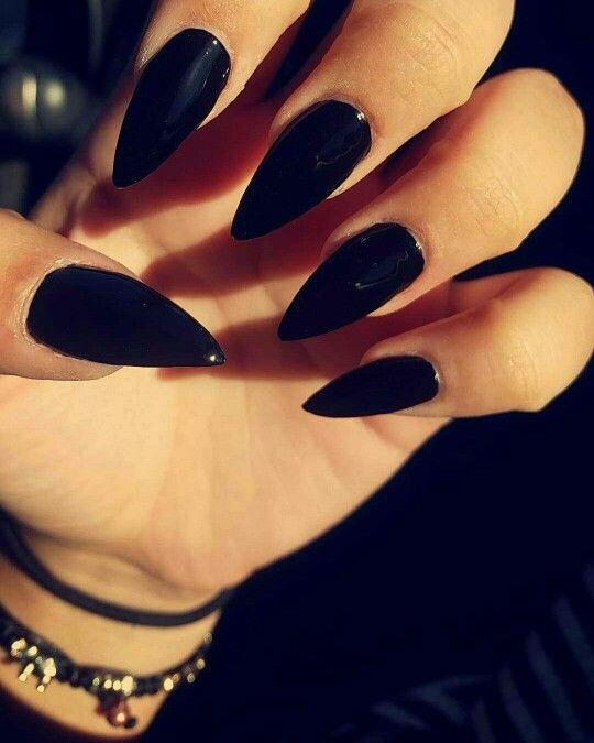 Black long pointed nails