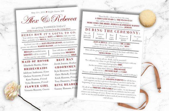 BEST SELLER Funny Wedding Program by MissBeccasBoutique on Etsy