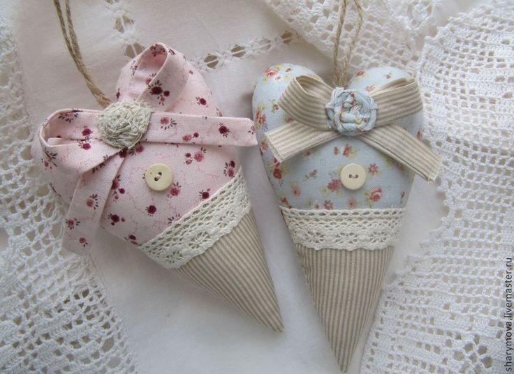 Сердечки Тильда в стиле Прованс - кремовый,сердце тильда,сердечный подарок