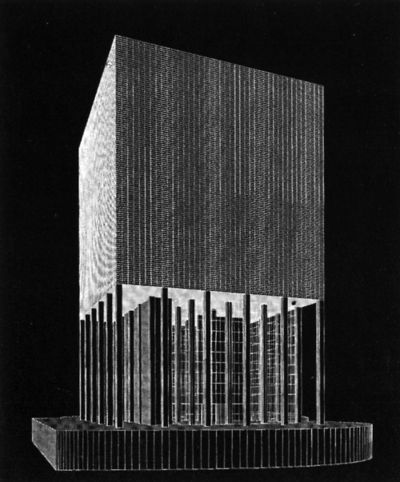 O.M. Ungers, Competition Design for a High Rise at Landtag, Dusseldorf, Germany, 1991