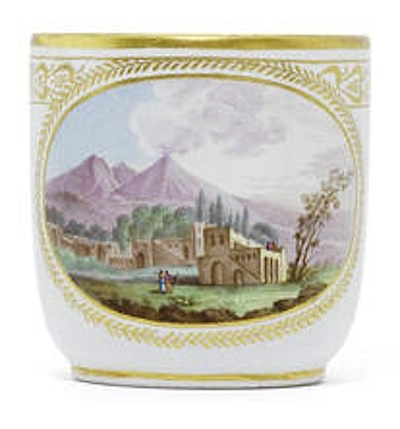 A Naples, Real Fabbrica Ferdinandea cup with a view of Vesuvius, circa 1783-88, porcelain, 6.8cm high, via Bonhams