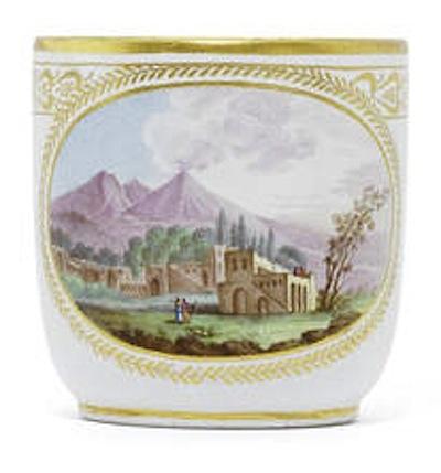 A Naples, Real Fabbrica Ferdinandea cup with a view of Vesuvius, circa 1783-88, porcelain, 6.8cm high, via Bonhams