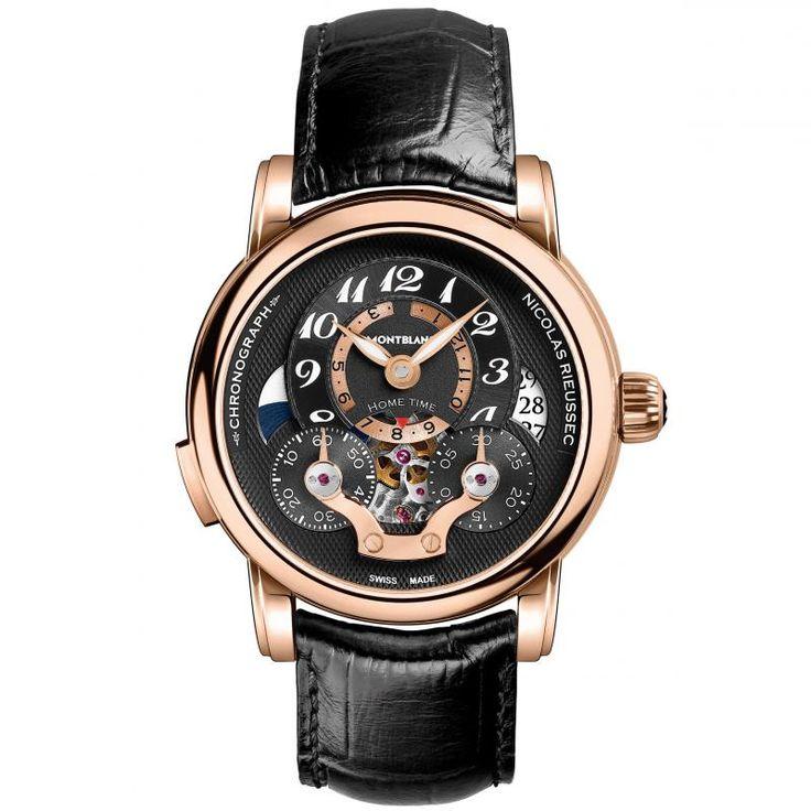 Мужские часы Montblanc 107067 Nicolas Rieussec Open Home Time - черные - швейцарские наручные