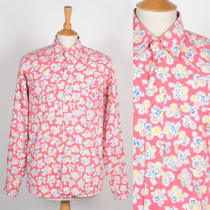 VINTAGE MENS PINK FLORAL SNAP FASTEN SHIRT WESTERN RODEO POPPER CASUAL XL