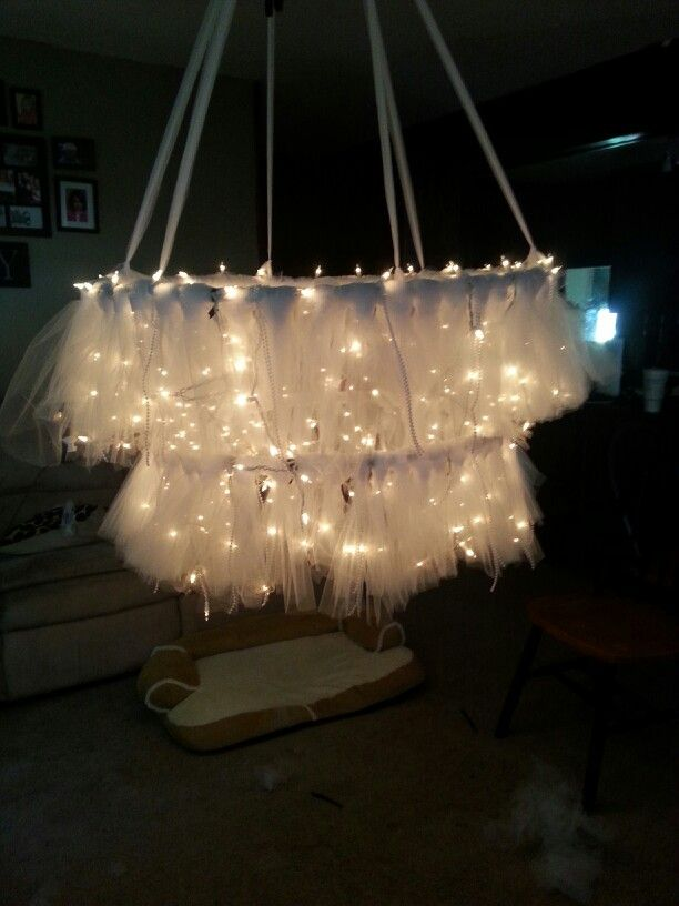 Hula hoop chandelier with tulle | My brother is getting ...