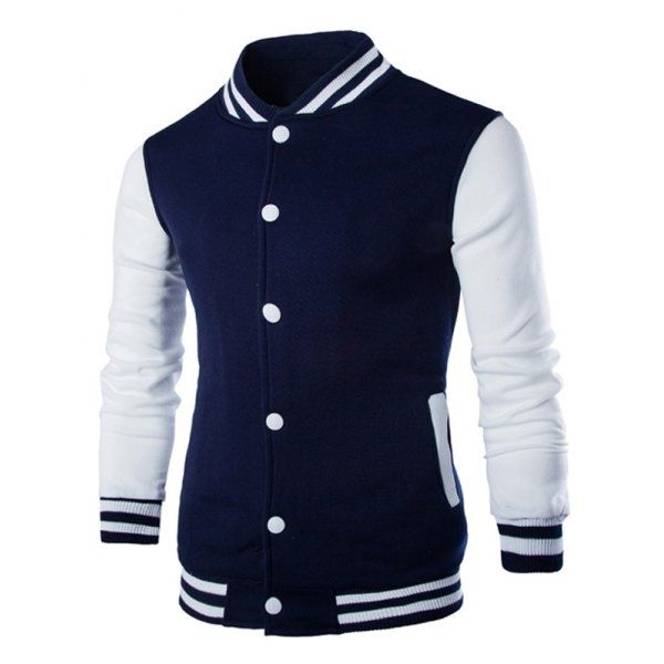 18.94$  Buy here - http://dixab.justgood.pw/go.php?t=203056319 - Stand Collar Color Block Striped Baseball Jacket