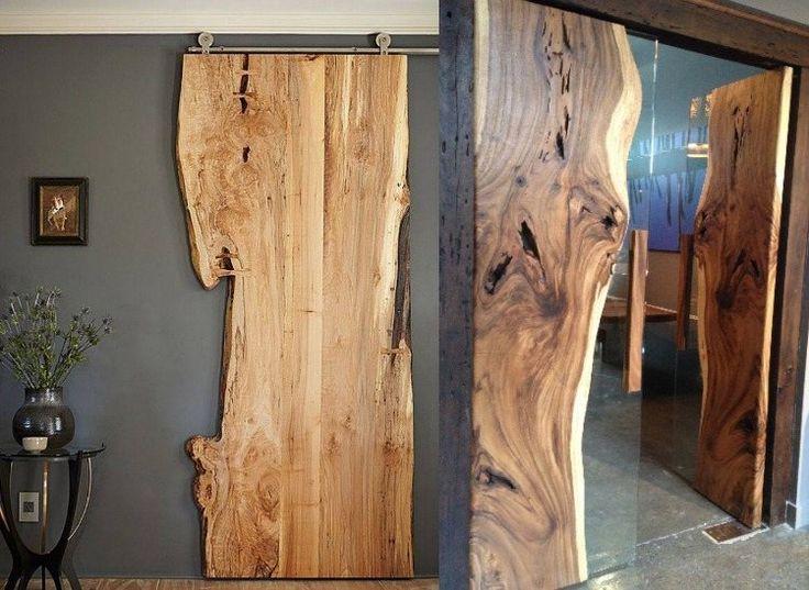 accessoires et meubles bruts- porte suspendue grange en bois fossilisé