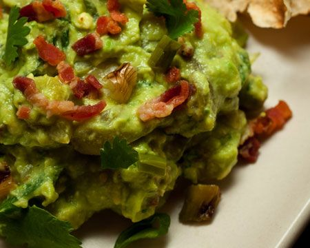 Guacamole with Bacon, Grilled Ramps (or Green Onions), and Roasted ...