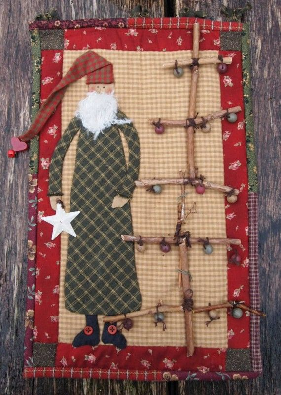 """Long Wooden Santa Claus with Christmas Tree"" 